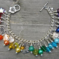 Rainbow charm bracelet by GoddessJewelsUK on Etsy