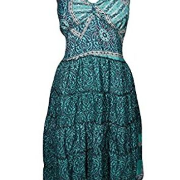 Mogul Womens Eliza Sundress Recycled Vintage Silk Sari Spaghetti Strap Boho Resort Dresses