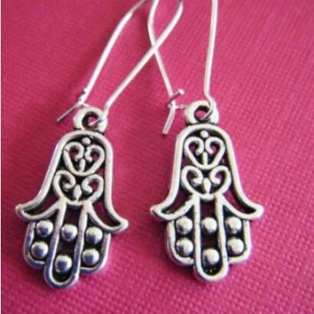 """40Pairs Ancient Silver Plated""""Small Hamsa Hands """"Charms Dangle Women Earrings Drop Earrings Vintage Jewelry Making DIY"""