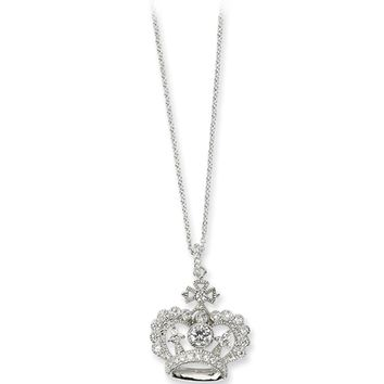 Sterling Silver Cubic Zirconia Crown Pendant Necklace by Cheryl M