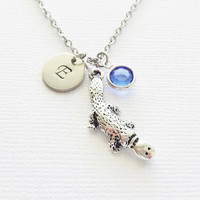 Platypus Necklace Australia Mammal BFF Friendship Gift Animal Jewelry Swarovski Birthstone Silver Initial Personalized Monogram Hand Stamped