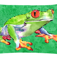 Frog   Canvas Fabric Decorative Pillow