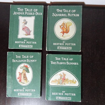 Vintage Beatrix Potter Books - Set of 4 - The Tale of Benjamin Bunny, Flopsy Bunnies, Jemima Puddle-Duck, Squirrel Nutkin