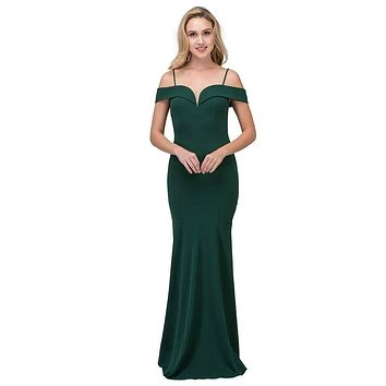 Hunter Green Off Shoulder Mermaid Style Evening Gown with Sweetheart Neckline