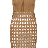 Brown Strapless Cut Out Knitted Bodycon Dress