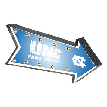 North Carolina Tar Heels Sign Marquee Style Light Up Arrow Design