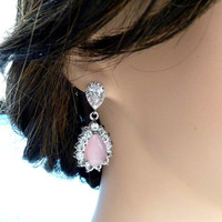 LAST ONE - Halo Light Pink Cats Eyes Peardrop with White Gold Plated Peardrop CZ Post Earrings