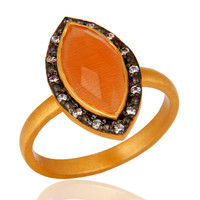 Marquise Cut Gemstone Peach Moonstone Ring Made In 24K Gold over Sterling Silver