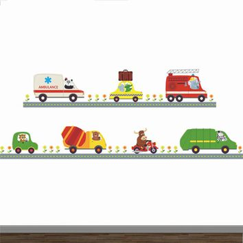 Police Ambulance Car Carton Animal Driver Decorative Stickers Kids Baby Nursery Boys Bedroom Decor Home Decal Mural Poster
