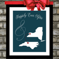 Wedding Gift, Custom Map of Special Locations - Personalized Art - You Choose Color, States - Mint, Love, Quote