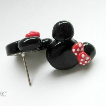 Minnie Mouse Stud Earrings - Handcrafted Polymer Clay Earrings - Disney Inspired Jewelry