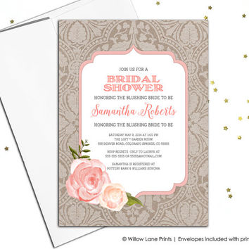 Country Bridal Shower Invitation, burlap Bridal Shower invite, rustic wedding Shower invite, rustic lace floral boho, printable - WLP00678