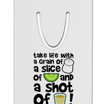 Take Life with a Grain of Salt and a Shot of Tequila Aluminum Paper Clip Bookmark by TooLoud