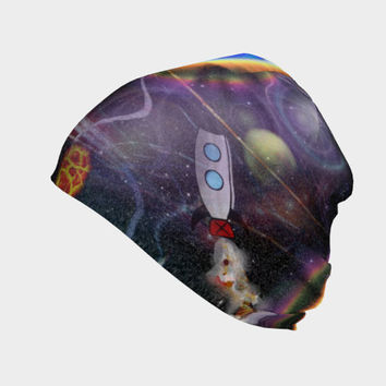 Space Bound, Beanie - Skull Cap, Winter or Summer, Multiple Fabric Choices, Baby - Adult Sizes