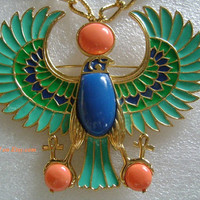 Extremely Rare HATTIE CARNEGIE Egyptian Revival Beautiful Colorful Enamel Lapis Coral Turquoise Golden Phoenix Bird 2in1Pendant/Pin Necklace