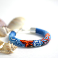 Coral Reef  - Bead Crochet  Bracelet Beaded Bracelet  Bead Blue White Coral Red  Multi-Colored Colorful Minimalist Beadwork Jewelry