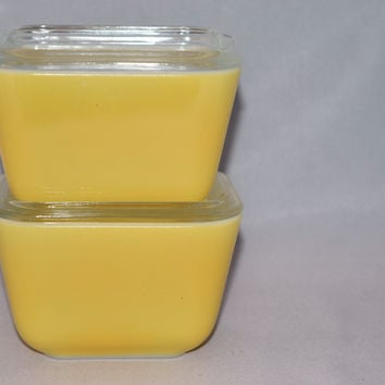 Vintage Glassware-Refrigerator Dish-Pyrex-Yellow-(2) available