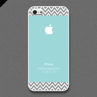 iPhone 5 Case - Light grayish chevron pattern on Tiffany Teal  color, iPhone Case, iPhone 5 Case, Cases for iPhone 5, Hard iPhone 5 Case