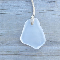 Sea Glass  Beach Surfer Necklace Frosted