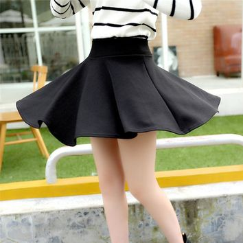 Sexy Skirts Womens 2016 Fashion Fall Winter Mini Skirt Plus Size XL High Waist Pleated Skirt Black Tenis Skater Skirt For Women