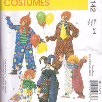 New McCalls Pattern Halloween Costume childrens size 2-4 Clown  Five styles