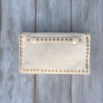 Margot Off White Gold Studded Clutch