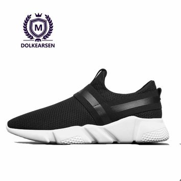 DOLKEARSEN New Brand Designer Breathable Men Sneakers 2017 Hot Sale Summer Light Fashion Air Mesh Lazy Men Shoes T160531