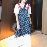 """Supreme x Louis Vuitton"" Women Loose Casual Fashion Sleeveless Letter Back Strap Denim Dress"