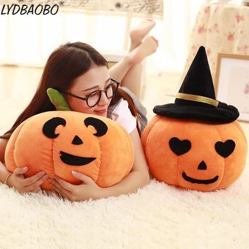 LYDBAOBO 1PC 45CM Cute Halloween Pumpkin With Hat Stuffed Cotton Plush Doll Soft Pillow Toy Festival Birthday Gift To Baby Kids