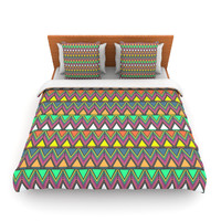 "Nandita Singh ""Pattern Play"" Rainbow Chevron Lightweight Duvet Cover"
