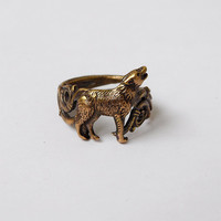 Howling wolf ring Brass Jewelry Size 6,5