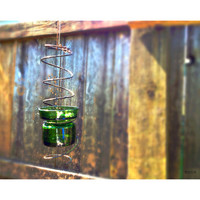 Rustic Hanging Green Glass Candle Holder Outdoor Patio    Decor