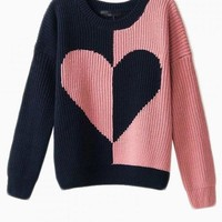 Pink & Navy Heart Print Contrast Sweater