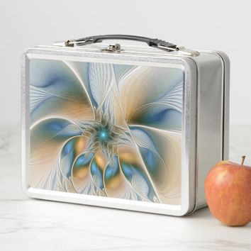 Soaring, Abstract Fantasy Fractal Art With Blue Metal Lunch Box