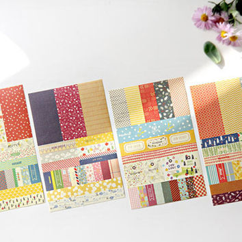 8 Sheets Washi Tape Stickers Petit Deco Ver. 3 Bonjour Paris - Masking Tape Sticker Or Deco Sticker Label Set