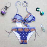 Womens Sexy Push up Padded Swimsuits Bikini Set Blue Aztec Pattern Swimwear
