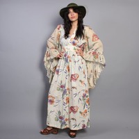 70s Wildflower FLORAL Print MAXI / Angel Sleeve Gauzy Butterflies DRESS, xs-m
