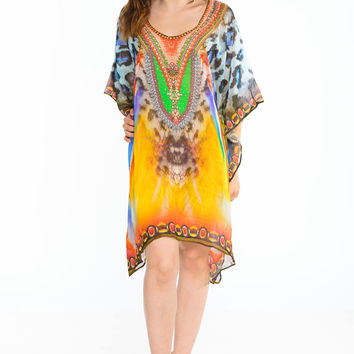 caftan beach dresses short kaftan dress in leopard animal print resort kaftans caftan dress poncho tunic boho gypsy kaftans