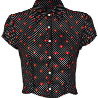 "ROMWE | ""Polka Dots & Geometric Pattern"" Midriff Shirt, The Latest Street Fashion"