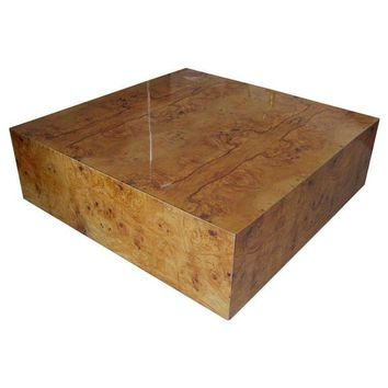 Pre-owned Vintage Baughman Style Burl Cube Coffee Table