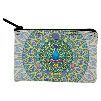 Mandala Trippy Stained Glass Peacock Coin Purse