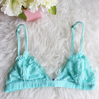 Unlined Lace Bralette in Tiffany Blue