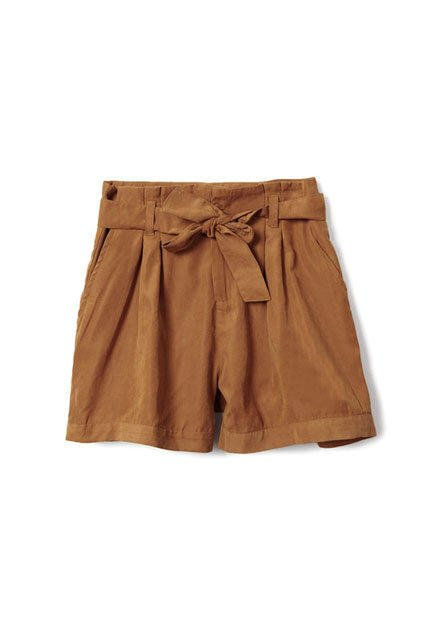High-waist Fitted Drawstring Bowknot Coffee Shorts [NCSPJ0200] - $26.99 :