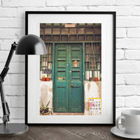 Hong Kong Door Photography, Green Chinese Door, Hong Kong Street Scene, Hong Kong Art Photography, Door Print, Fine art photography