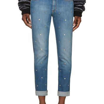 Stella Mccartney Blue Studded Skinny Boyfriend Jeans