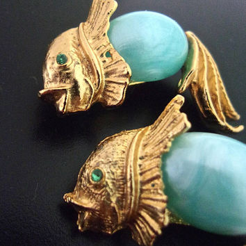 2 Lucite Jelly Belly Fish Scatter Pins/Brooches, Seafoam Blue Japanese Carp, Gold Tone, Vintage