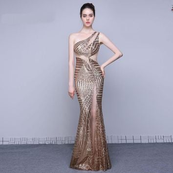 New Formal Evening Dresses Long Sexy One Shoulder Mermaid Party Gowns Sequined Prom Dresses Long