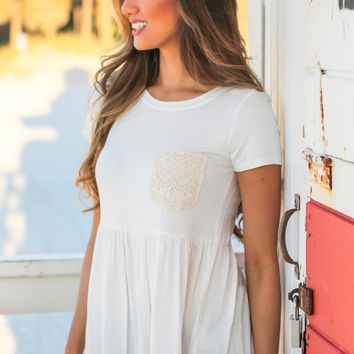 Ivory Babydoll Top with Crochet Pocket