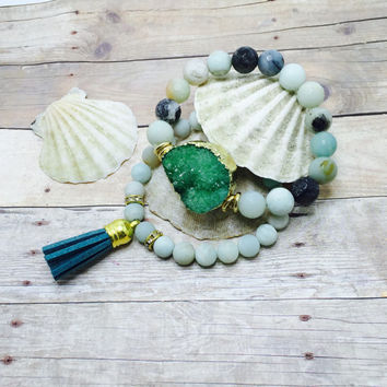 Amazonite Stackable Bracelet Set Beaded Stretch Bracelets Druzy Bracelet Tassel  Boho Jewelry beach jewelry Set of 2 mermaid jewelry