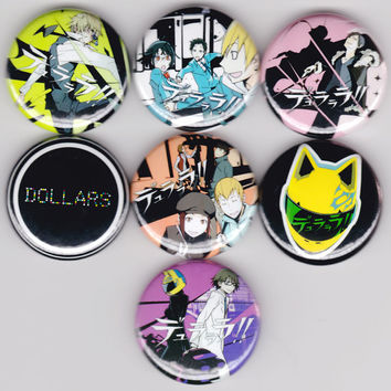 Durarara!! - Set of 7 - Mikado Masaomi Black Rider Dollars Izaya Shizuo Anri DRRR!! Shounen Manga Anime Buttons Badges Pins Pinback